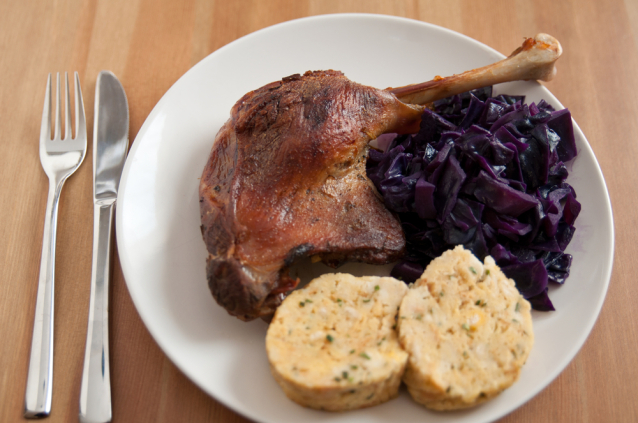 Roasted Goose with White and Red Cabbage and Dumplings